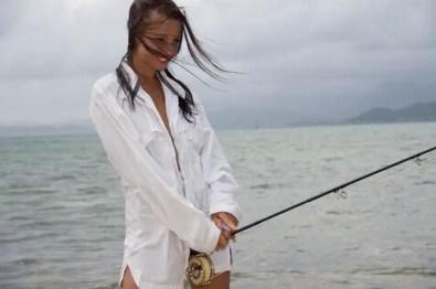 Fly fishing in man's shirt