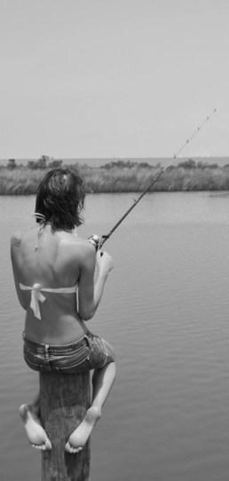 Girl pole fishing