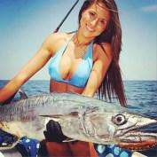 Kingfish and fishing girl