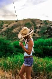 Nice fishing girl in shorts