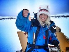 Ice fishing girl