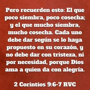 2 Corintios 9.6-7