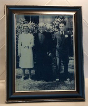 Peggy, George and Father Philip Newman - April 1946