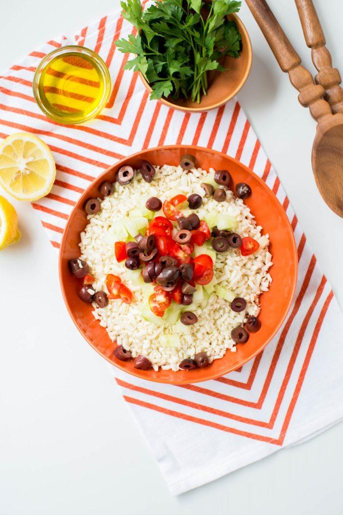 Cauliflower tabbouleh recipe process - Dr. Pingel