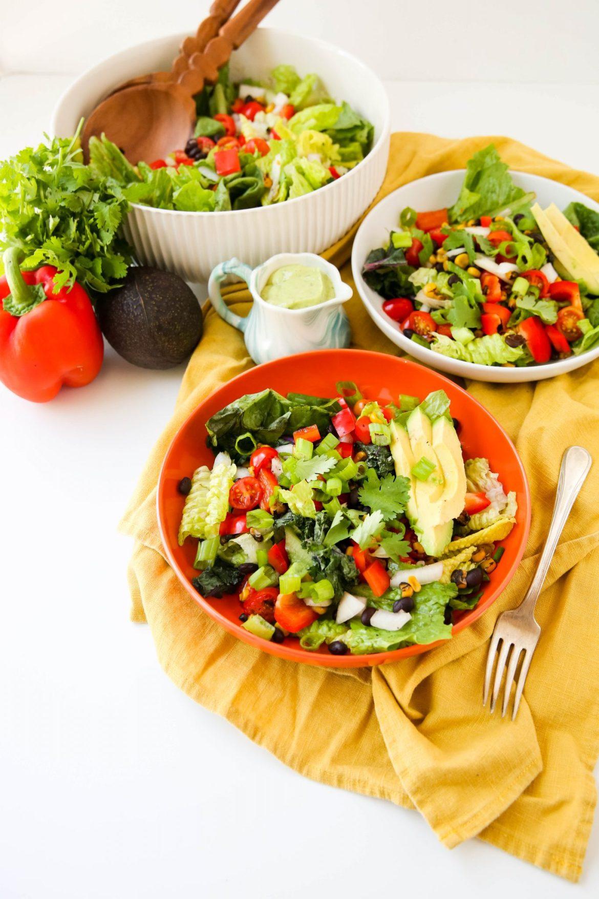 Southwestern chopped salad with cilantro dressing - Dr. Pingel