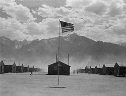 Manzanar with American flag