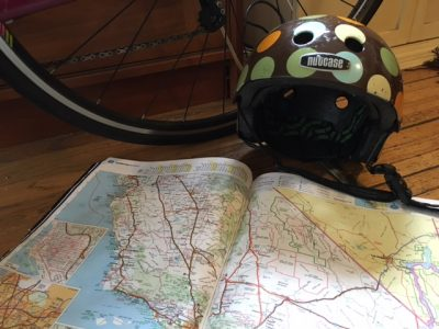helmet and map