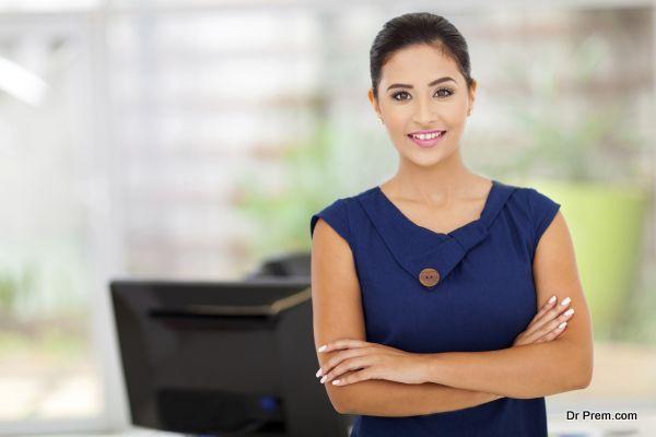 caucasian businesswoman in her office