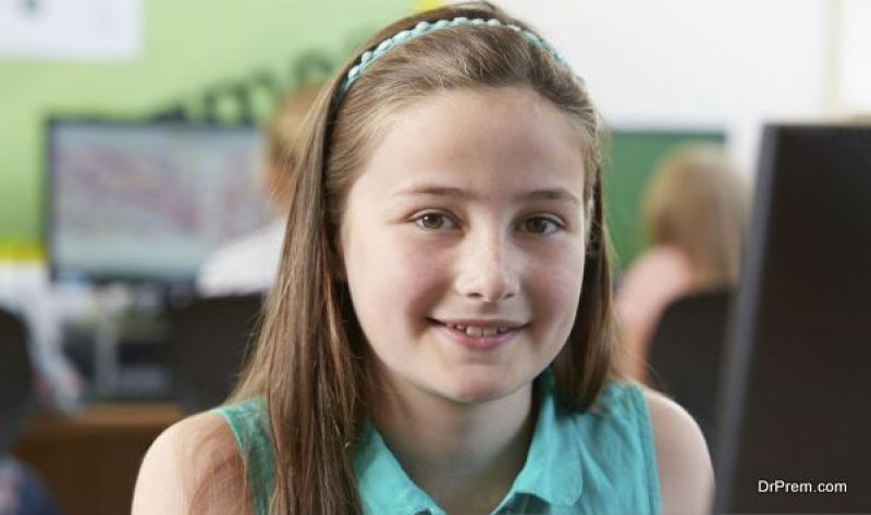 girl attending class