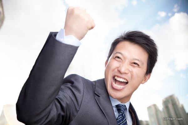 Portrait of Man Cheering