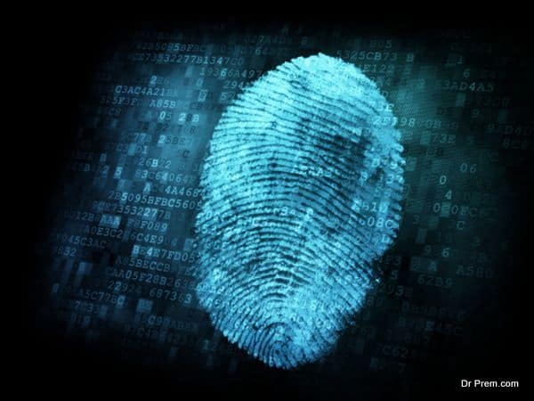 Fingerprint on digital screen, security concept