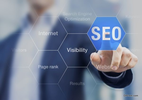 Search Engine Optimization consultant touching SEO button on whi