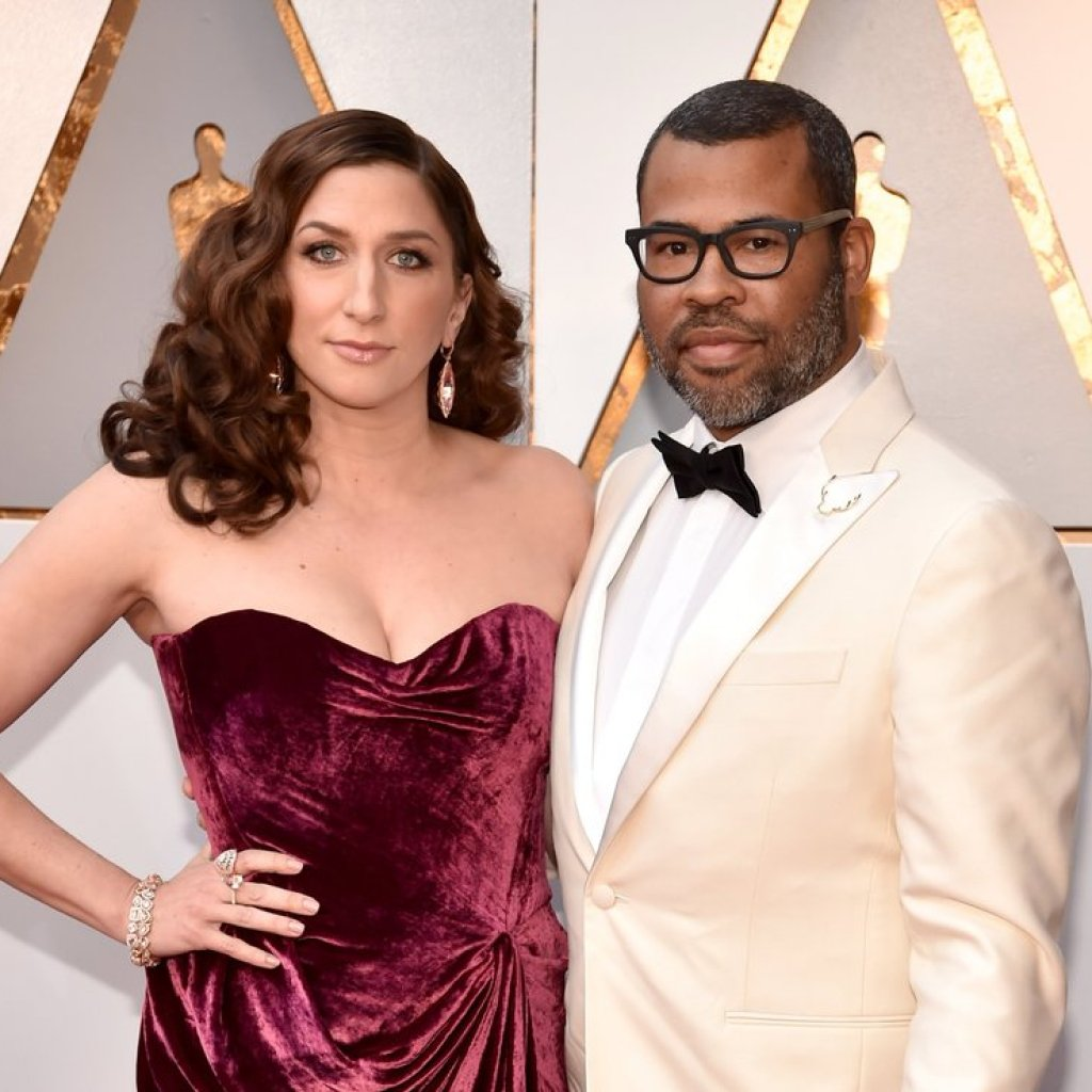 Chelsea Peretti and Jordan Peele on the Oscars Red Carpet 2018