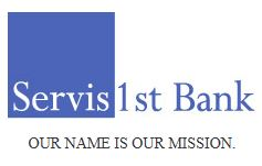 Servis First Bank Logo with tag Our Name is Our Mission