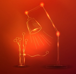 Red Background with Lamp and Flowers