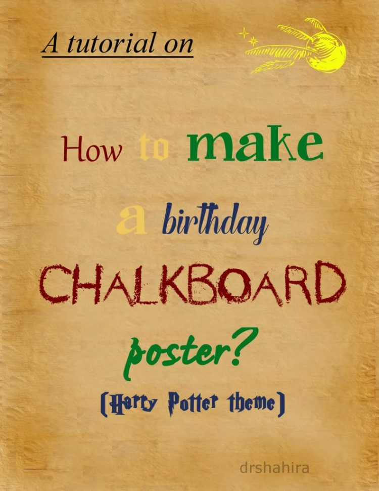 Birthday Chalkboard template, diy, harry potter