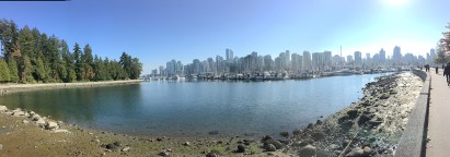Looking back toward downtown Vancouver from the seawall at Stanley Park.