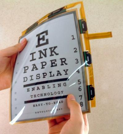 La tecnología e-ink (tinta electrónica) permite fabricar pantallas muy finas y flexibles