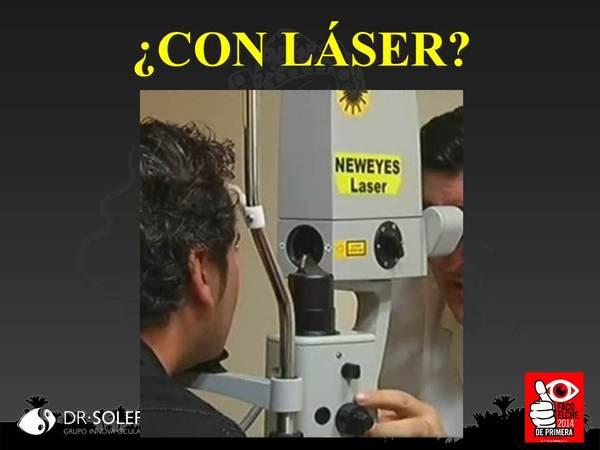 """Imagen mostrada en los medios del láser """"New Eyes"""" que es idéntico a un fotocoagulador Zeiss convencional"""