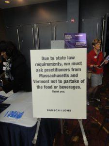 Restricciones para asistir a un lunch corporativo a los Oftalmólogos de Massachusetts y Vermont