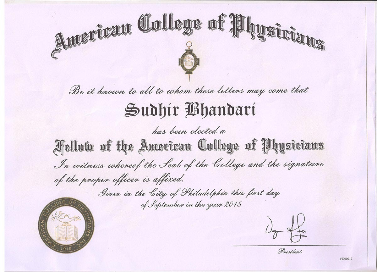 FACP 2015 Fellowship of American College of Physicians