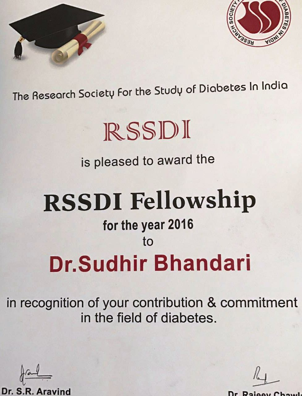 FRSSDI 2016 _Fellowship Award in Research Society for the Study of Diabetes in India, 18-11-2016