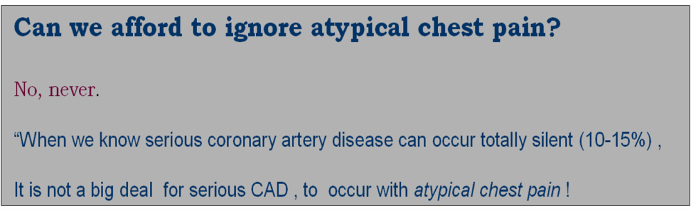 What do we mean by  atypical chest pain ?  (3/3)
