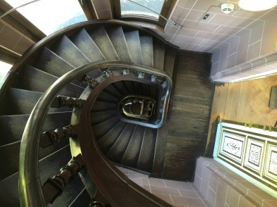 Looking down the staircase in the tower