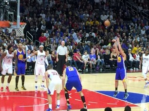 Klay Thompson at the free throw line
