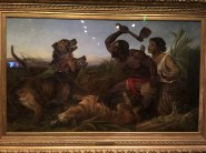 A painting of two slaves attempting to escape