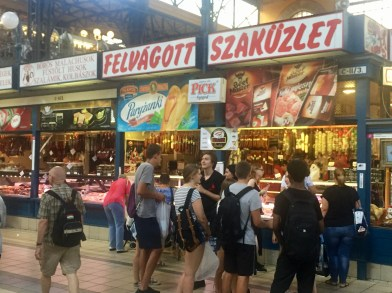 People lining up for salamis