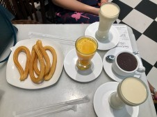 Our horchata, orange juice, churros and hot chocolate for dipping