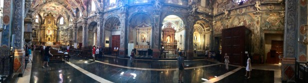 A panoramic shot inside