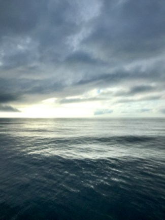The morning view from our yacht's sun deck