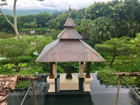 A shrine in a water feature