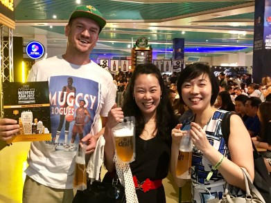 Drinking out of bags with Anna and Elaine Ang at Beerfest 2017