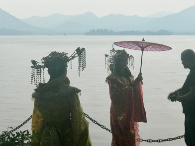 These girls were doing a photoshoot in traditional dress