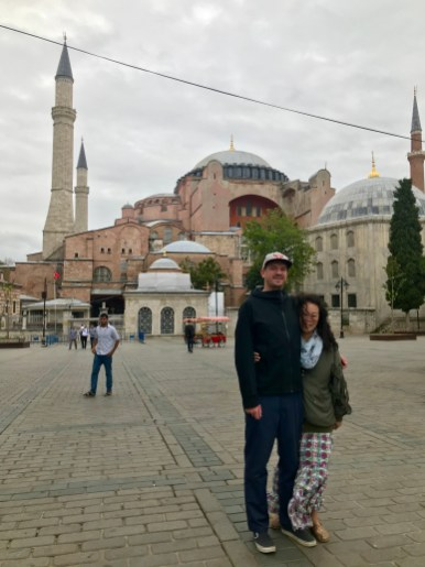 Standing in front of Hagia Sophia