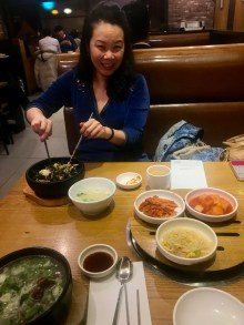 Anna mixing up some bibimbap for lunch