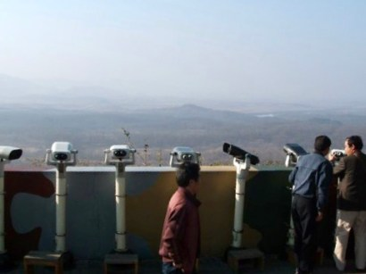Looking over the DMZ into North Korea