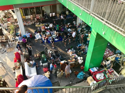 Looking down on a very small portion of the flea market