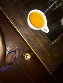 "My ""teacan"" hidden out of sight behind a table leg"