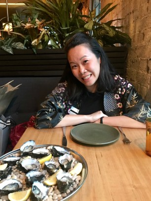 Anna excited for some oysters at Panama Dining Room