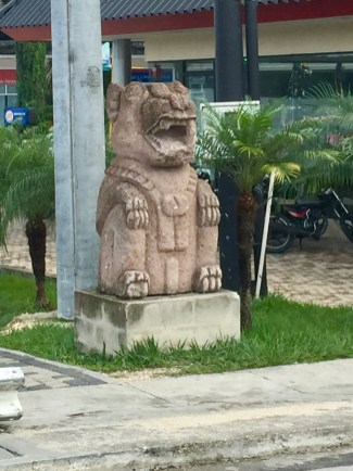 One of many sculptures scattered around San Benito