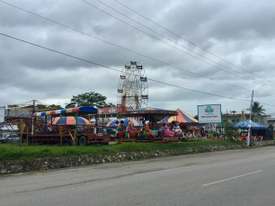 Approaching the dilapidated amusement park