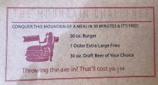 A challange in the restaurant in our hotel. That's almost a 1kg burger and a litre of beer