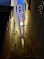 The view of Clock Square from a very narrow stairway