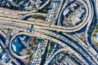 Busy Los Angeles Freeway Interchange Aerial