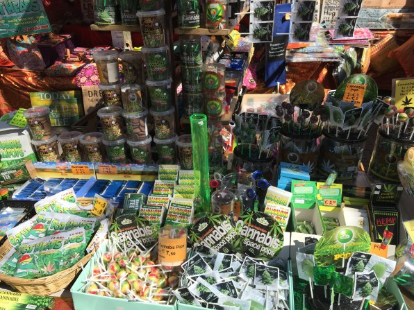 A close-up of the weed store