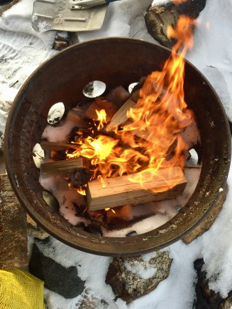 It was so cold that the ice beneath the fire didn't melt!